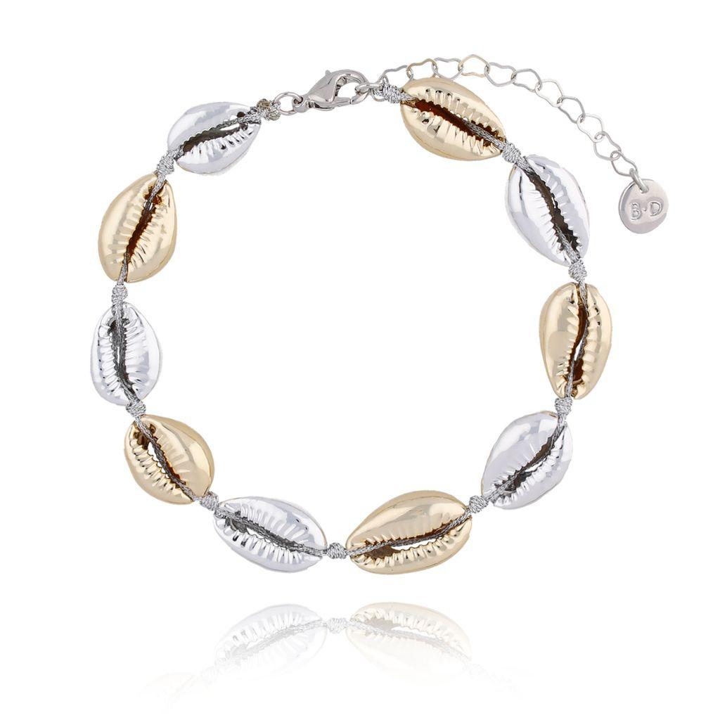 Bransoletka na nogę ze srebrnymi  i złotymi muszlami Ocean Vibes BNOV0019