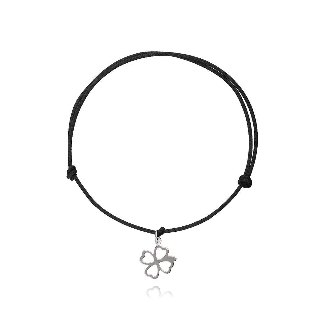 Bransoletka srebrna koniczynka na czarnym sznurku BSE0054_N