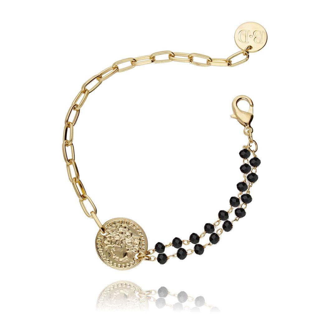 Bransoletka ze złotą monetką i kryształkami BRG0089