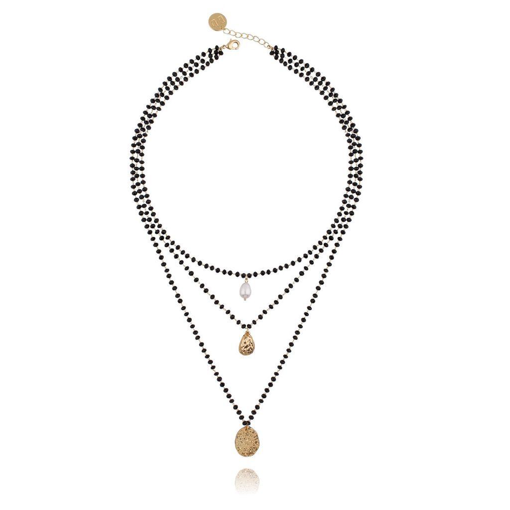 Naszyjnik potrójny z czarnymi kryształkami i perłą NRG0181