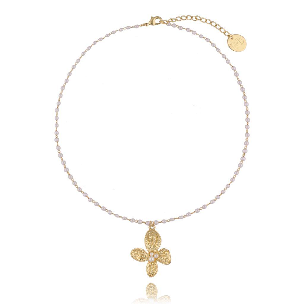 Naszyjnik złoty z perełkami i łańcuchem  NPE0014