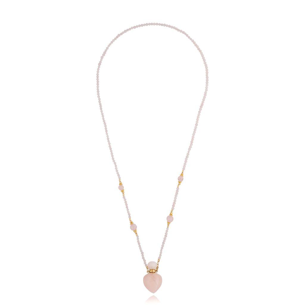 Naszyjnik perfumetka długa z kwarcem różowym NPA0237