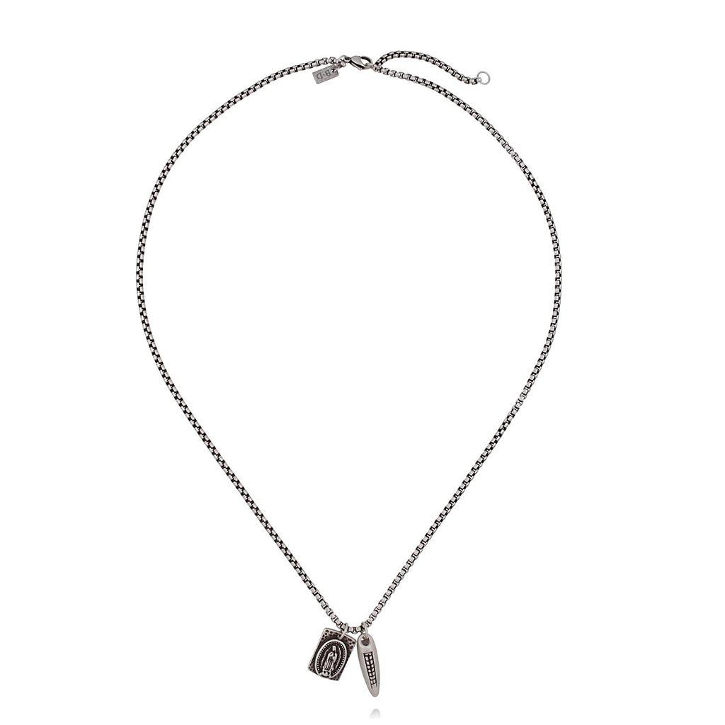 Naszyjnik męski srebrny ze stali szlachetnej - zawieszki NMITC0009