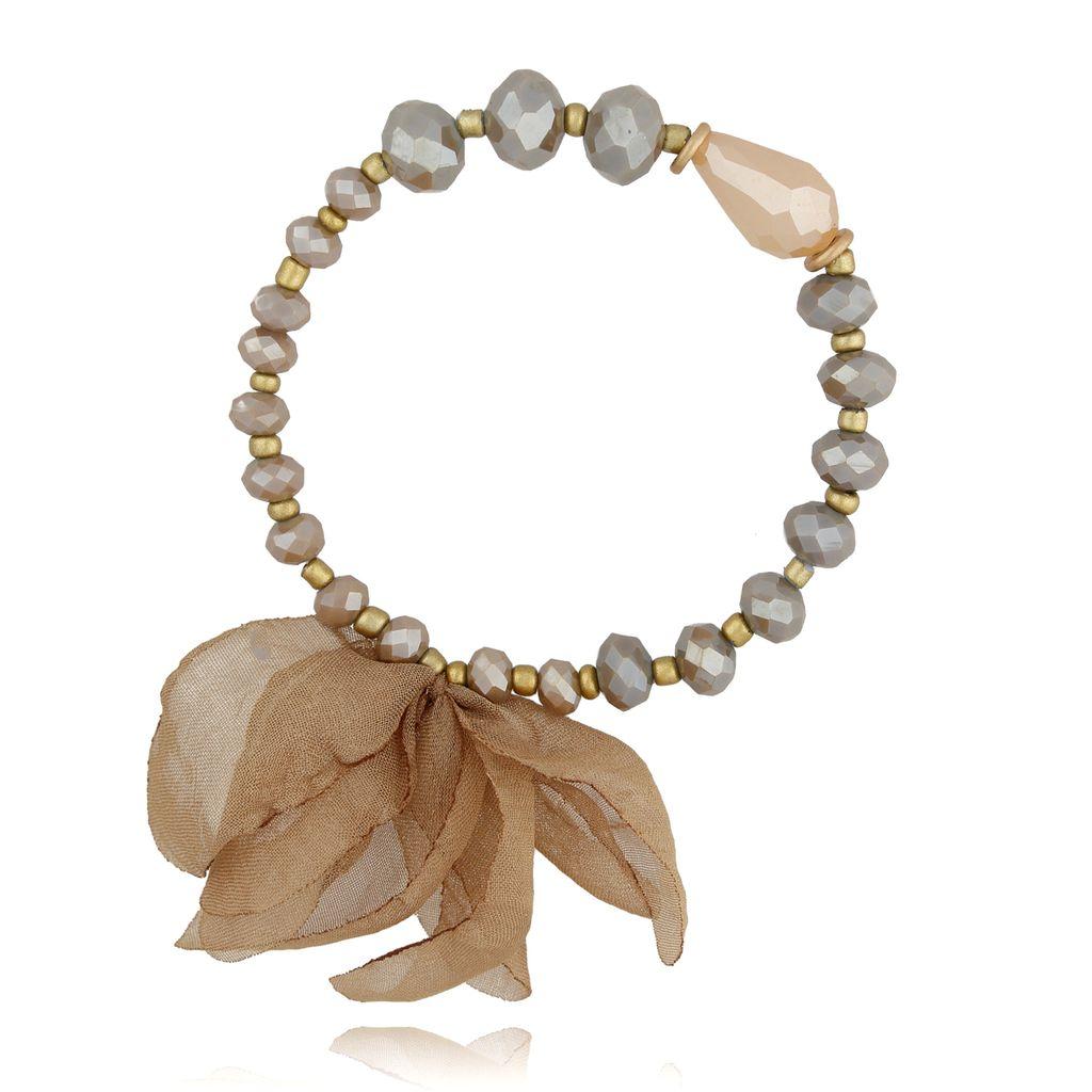 Bransoletka brązowa z kryształków - jedwabny kwiat BBL0211