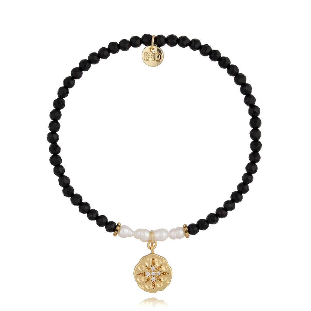 Bransoletka z agatami i perłami BSC0823