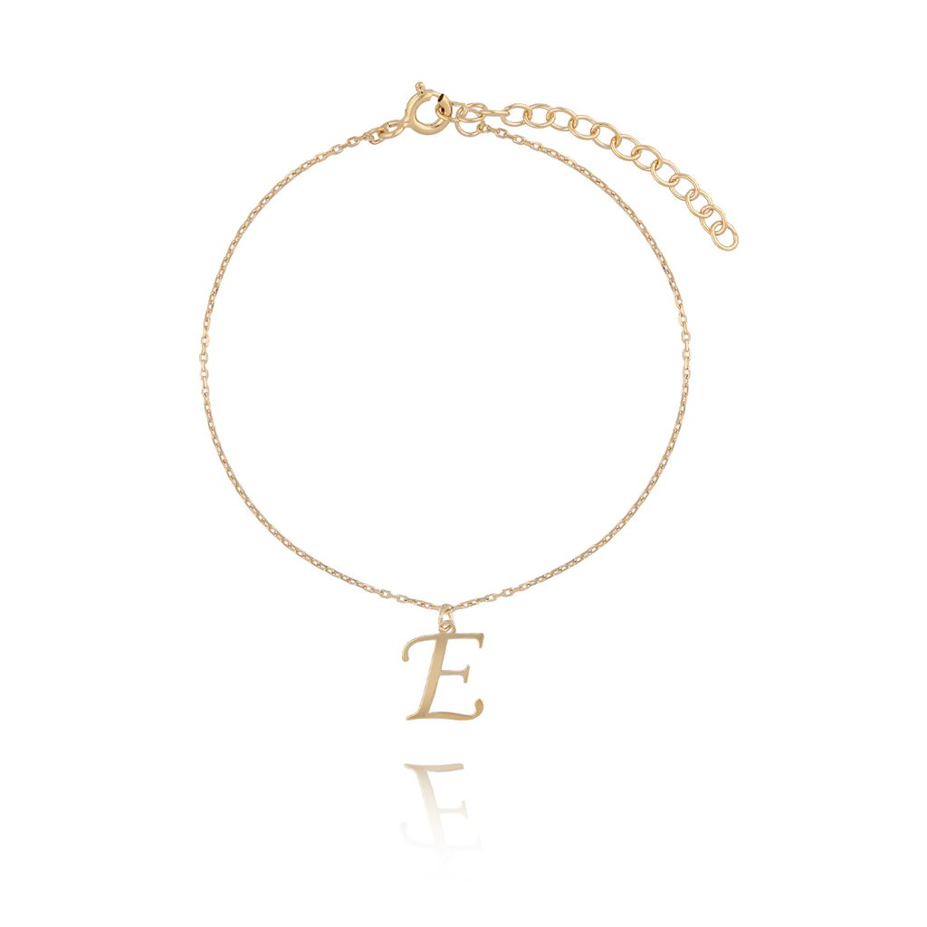 Bransoletka srebrna pozłacana z literką E BAT0056