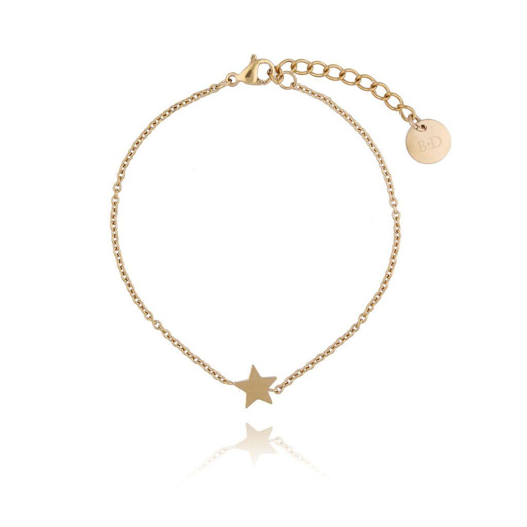 Bransoletka złota z gwiazdką ze stali szlachetnej BSA0088