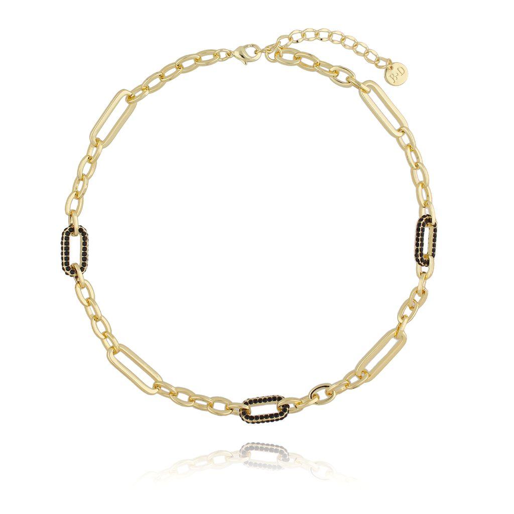 Naszyjnik złoty łańcuch z czarnymi kryształkami NRG0207