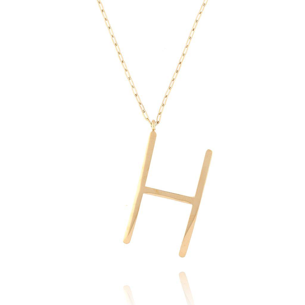 Naszyjnik ze stali szlachetnej złoty literka H Alphabet NAT0022