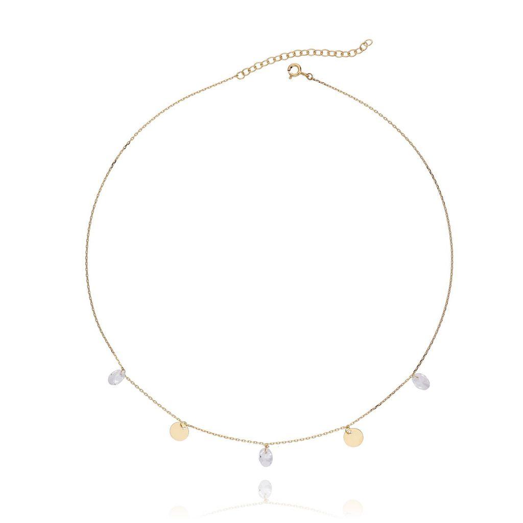 Naszyjnik srebrny pozłacany z kryształkami  NSE0020