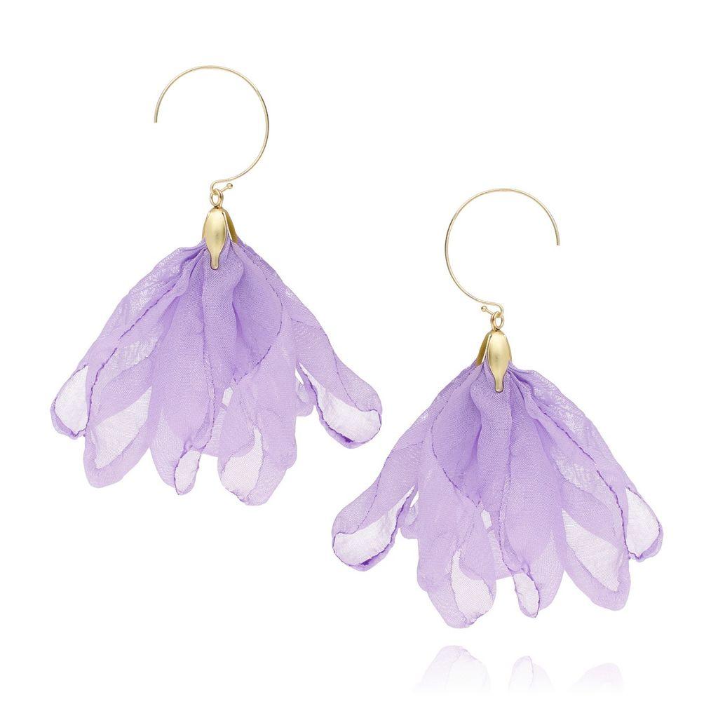 Kolczyki jedwabne kwiaty- fioletowe KBL0215
