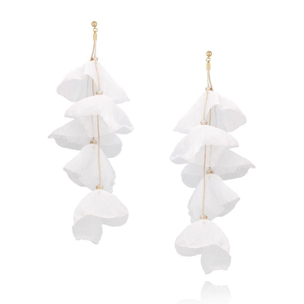 Kolczyki jedwabne kwiaty długie białe KBL0431