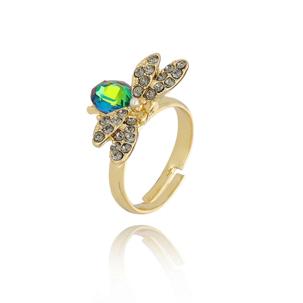 Pierścionek zielony owad z cyrkoniami i kryształkiem PMI0076