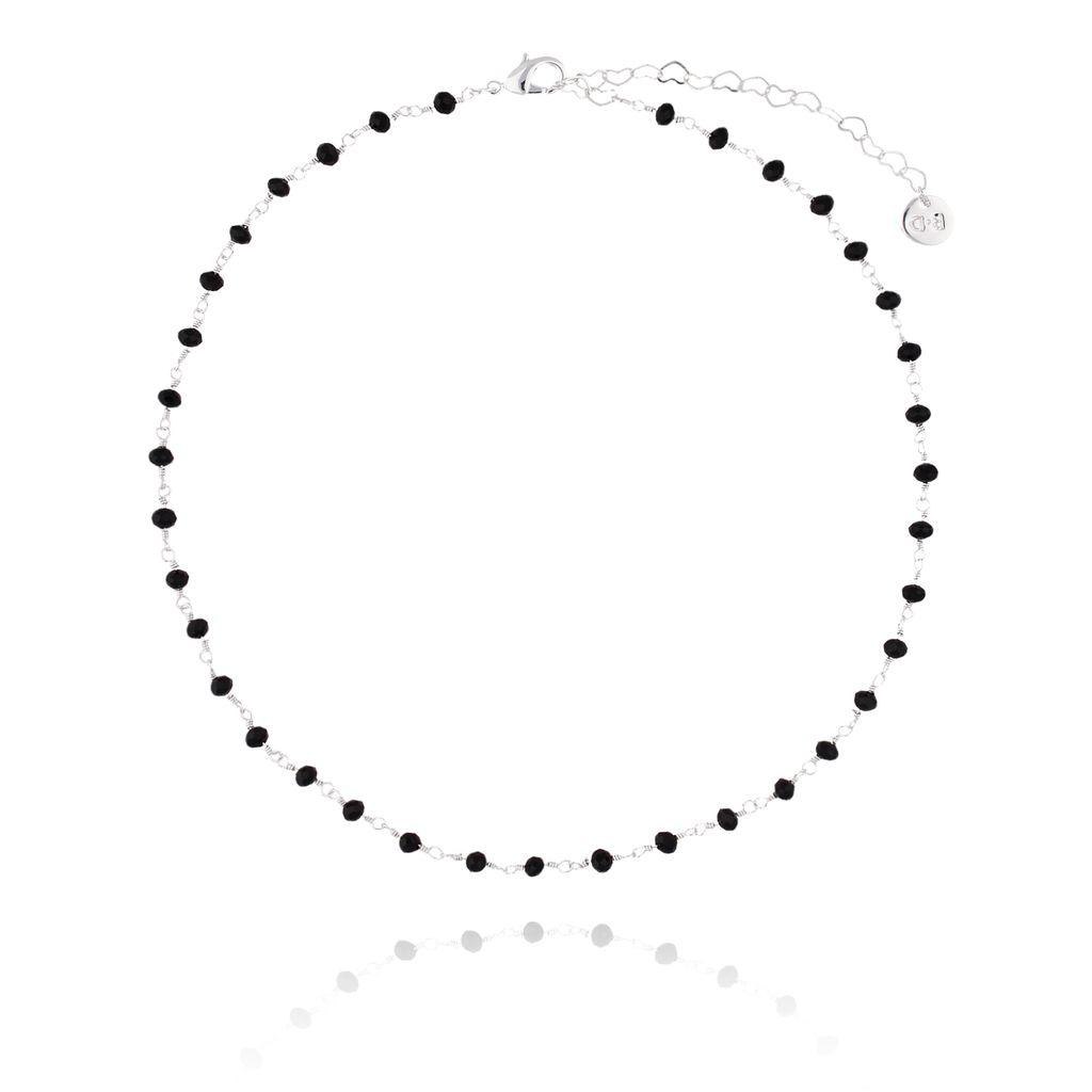 Choker Olivia srebrny z czarnymi kryształkami  NOA0019