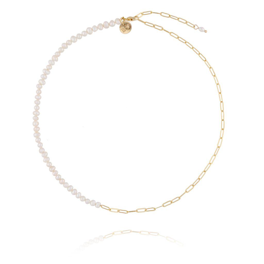 Naszyjnik złoty z perełkami i łańcuchem  NPE0016