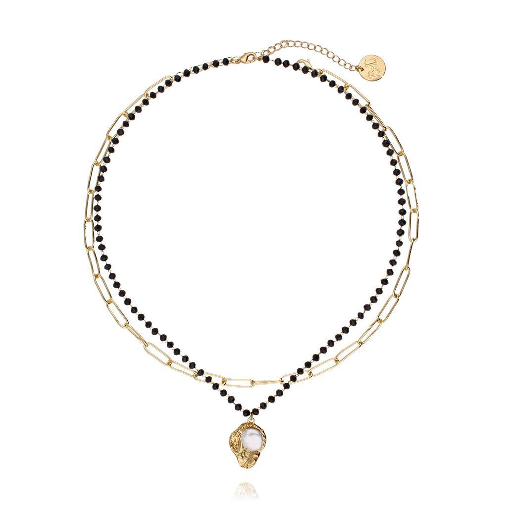 Naszyjnik podwójny ze złotym łańcuchem i perłą NRG0186