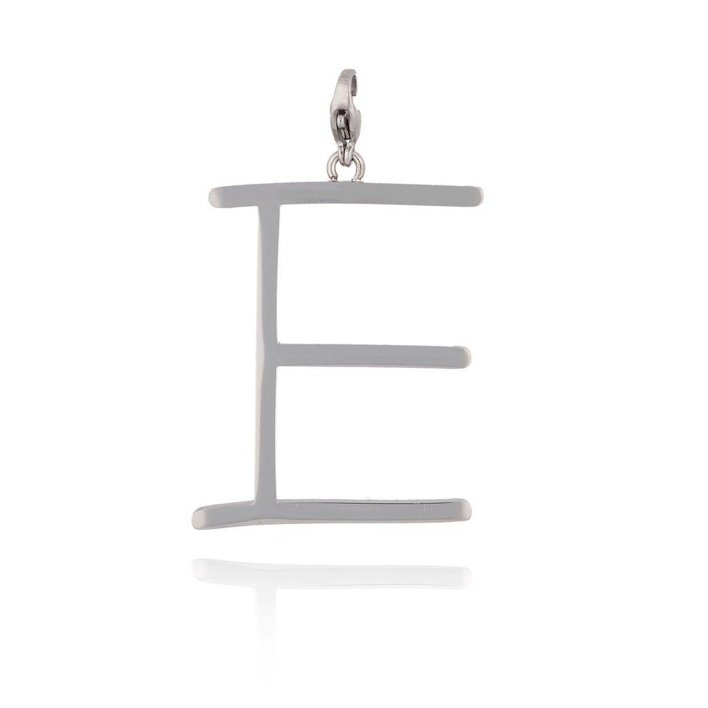 Zawieszka ze stali szlachetnej srebrna literka E Alphabet NAT0036