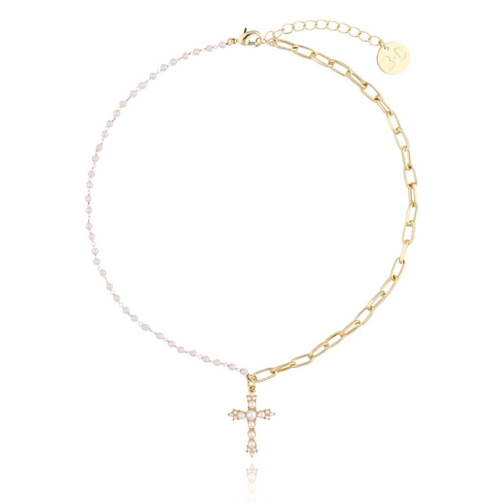 Naszyjnik złoty łańcuch  z perłami i krzyżykiem  NRG0141