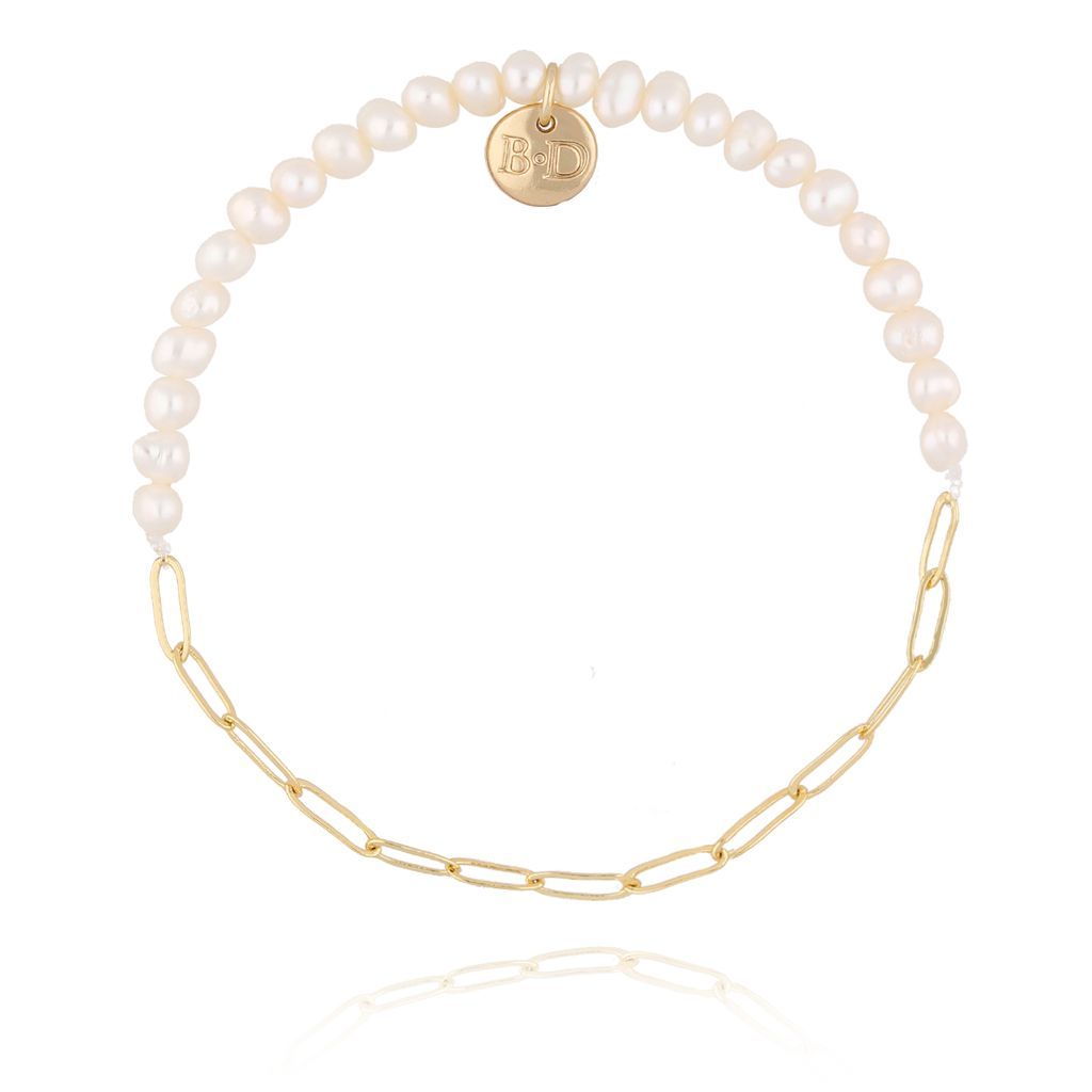 Bransoletka złota z perełkami  i łańcuszkiem BPE0011