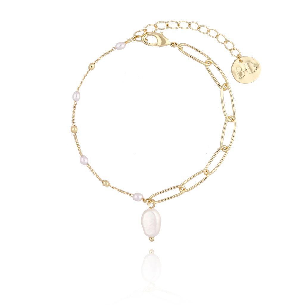 Bransoletka złota z perełkami  i łańcuszkiem BPE0012