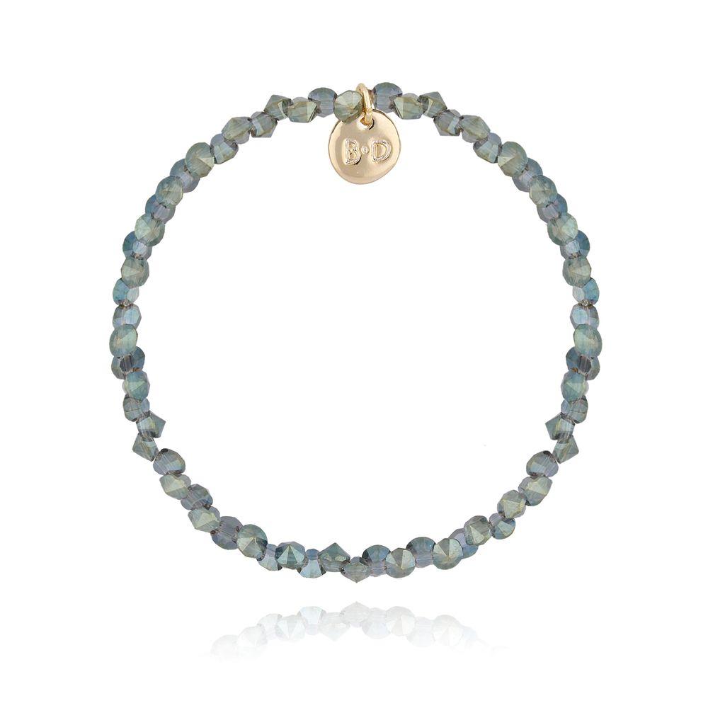 Bransoletka zielona z kryształkami BTW0227