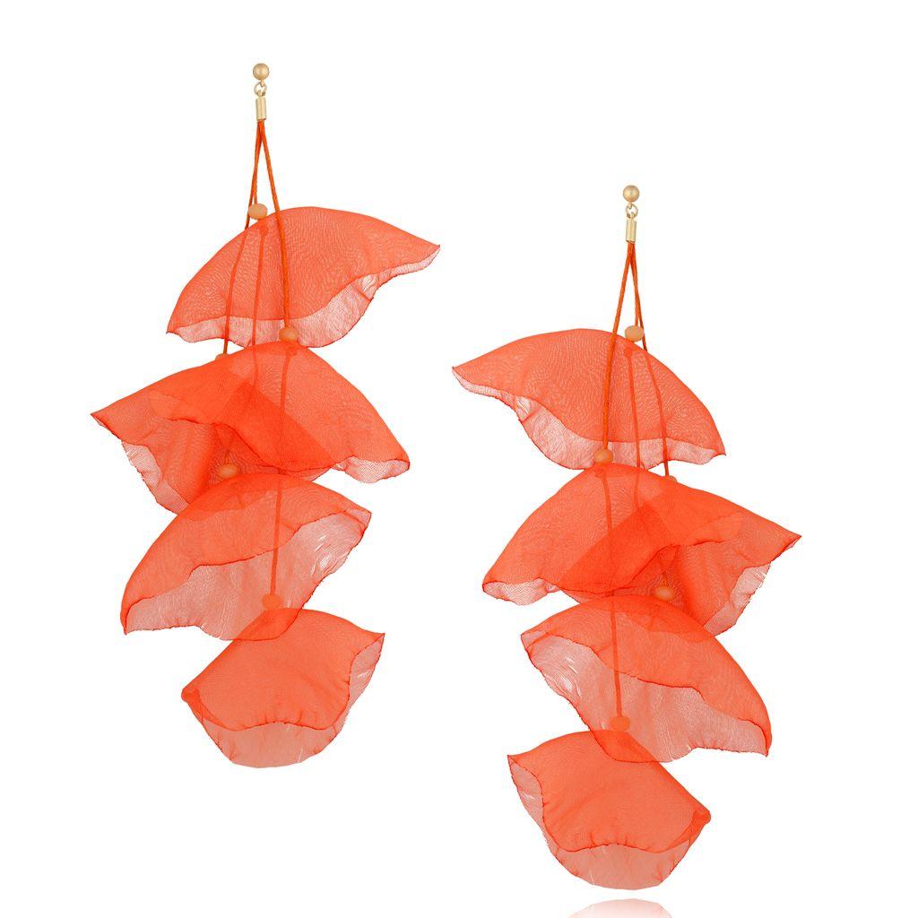 Kolczyki jedwabne kwiaty neonowe pomarańczowe KBL0652