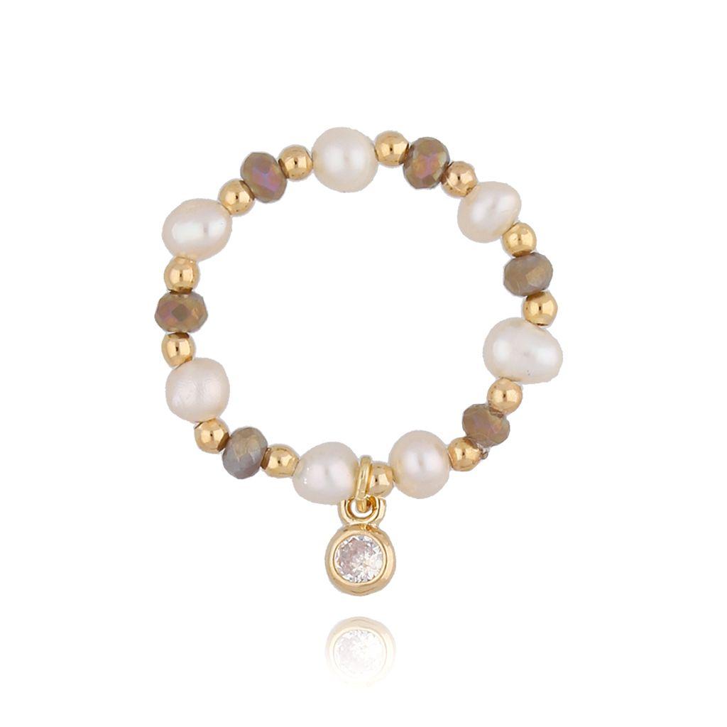 Pierścionek elastyczny z perłami PTW0117