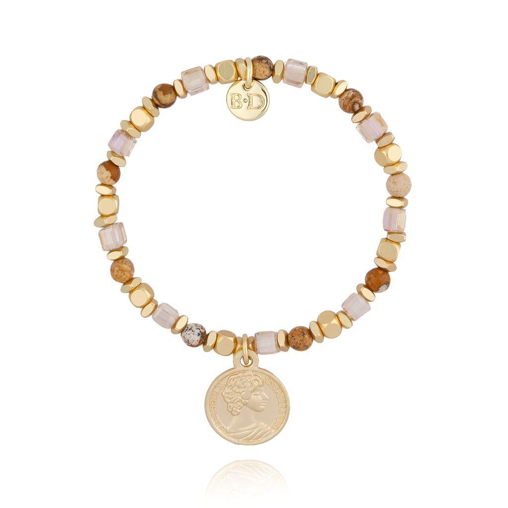 Bransoletka brązowo złota z monetką BSC0740