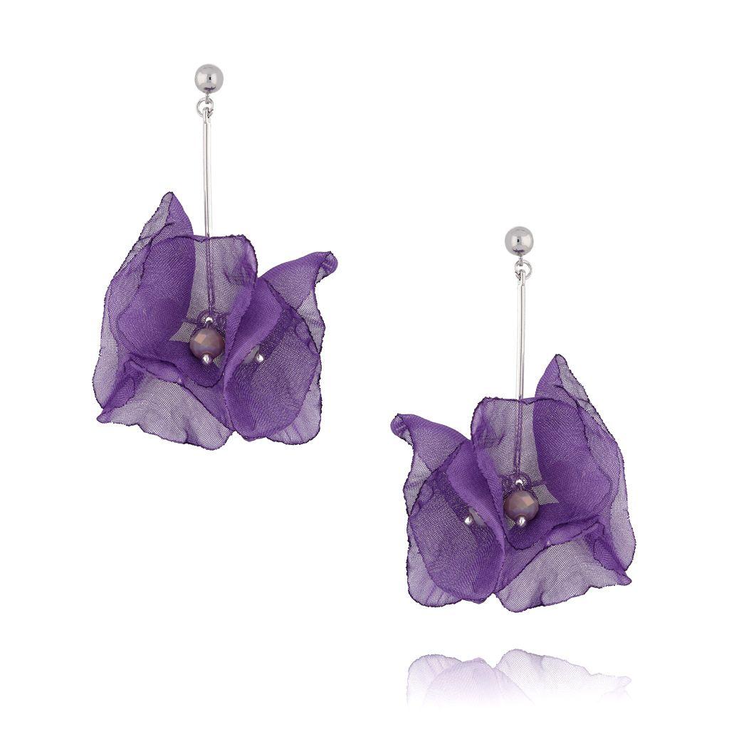 Kolczyki kwiaty jedwabne fioletowe KBL0390