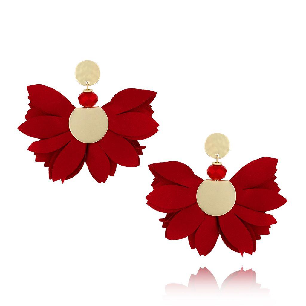 Kolczyki satynowe kwiaty  Blossom  bordowe KBL0303