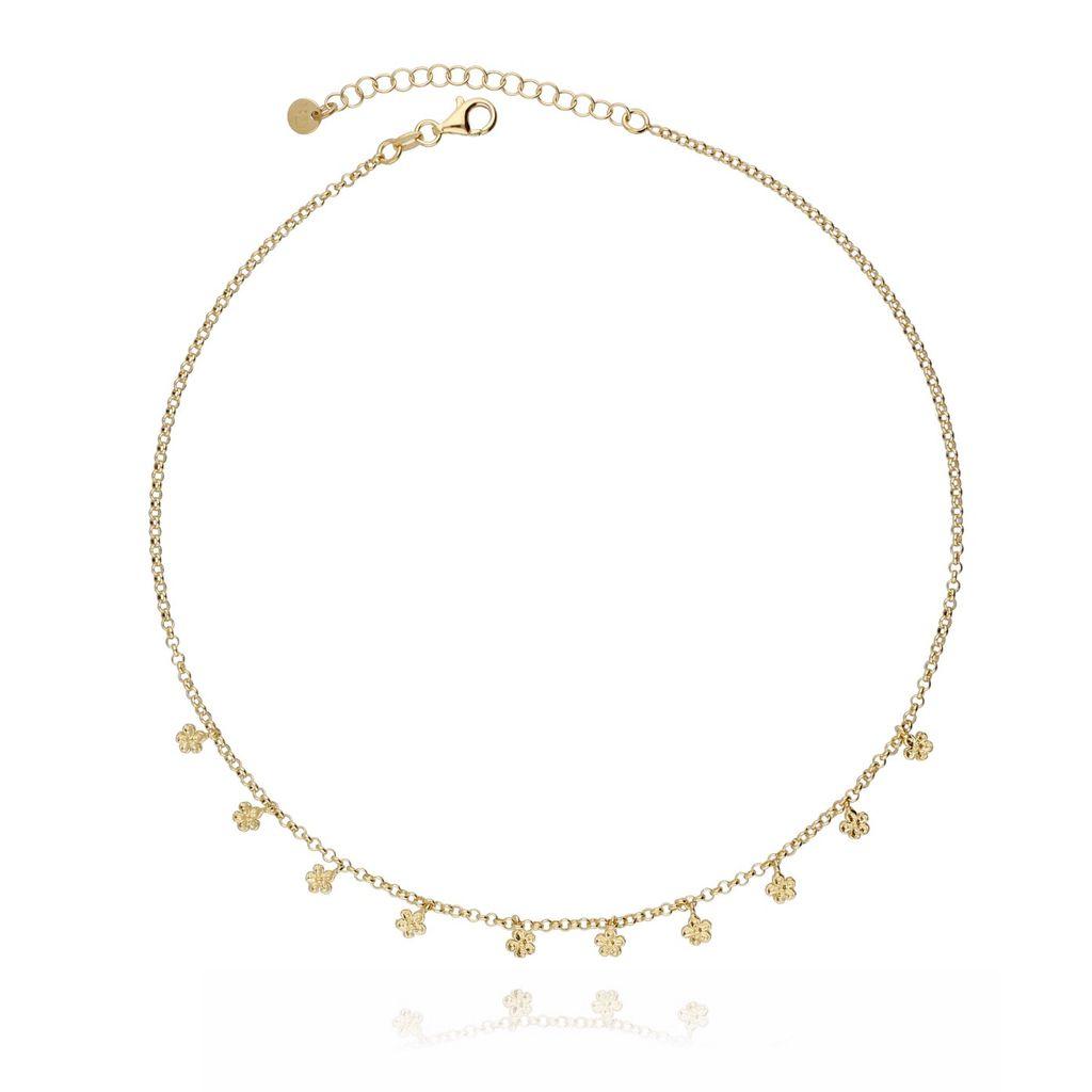 Naszyjnik srebrny pozłacany -  kwiatuszki NCI0052