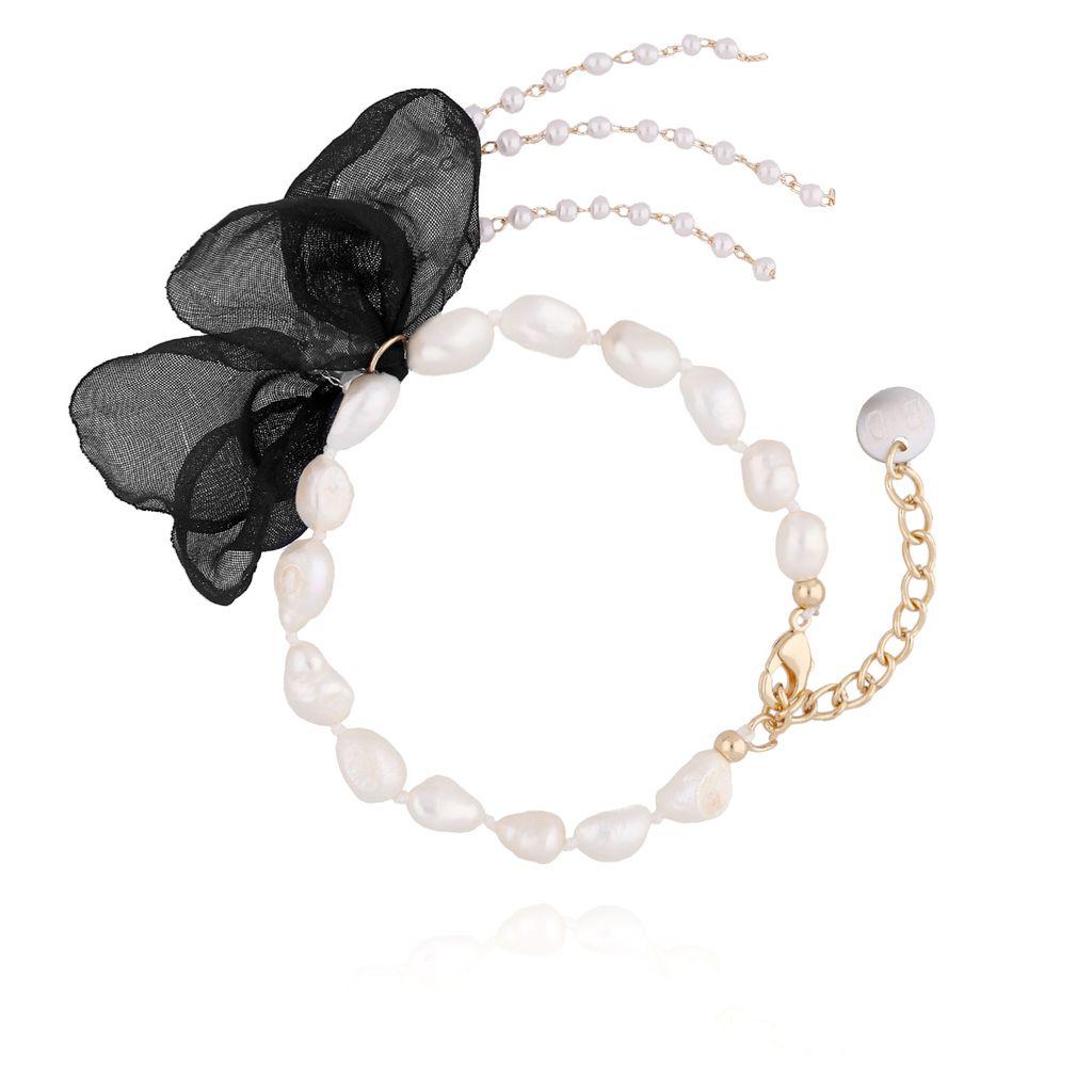 Bransoletka z perłami i z czarnym kwiatem  BBL0063
