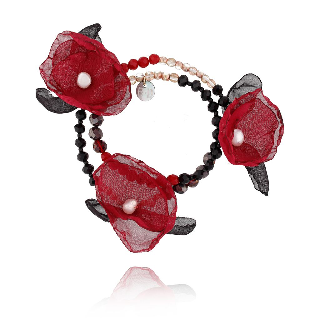Bransoletka z kryształkami i  fuksjowymi kwiatami  BBL0055