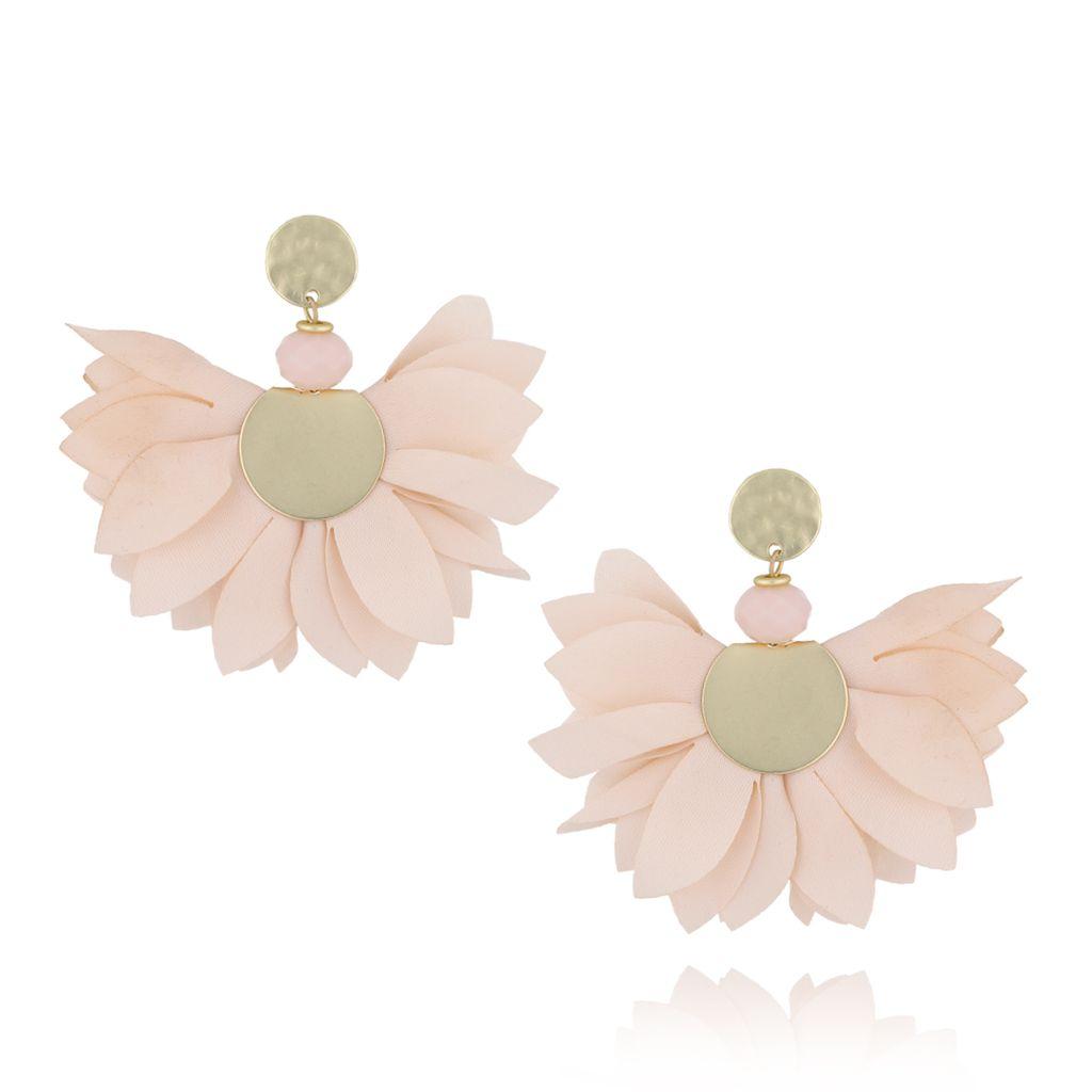 Kolczyki satynowe kwiaty  Blossom  kreomowe KBL0313