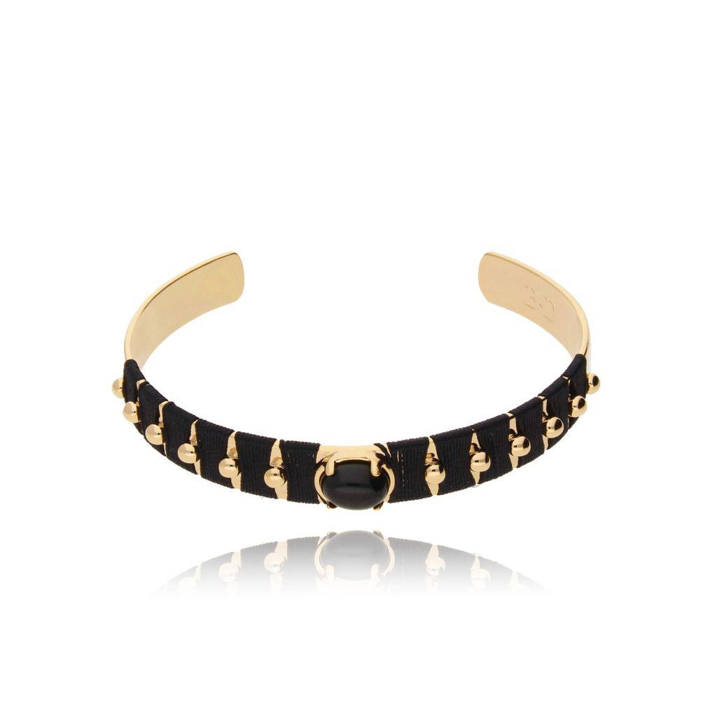 Bransoletka złota obręcz z koralikiem i czarną nicią BNE0007