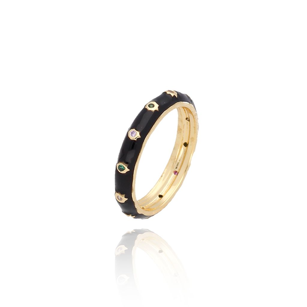 Pierścionek złoty z czarną emalią PCO0003 rozmiar11