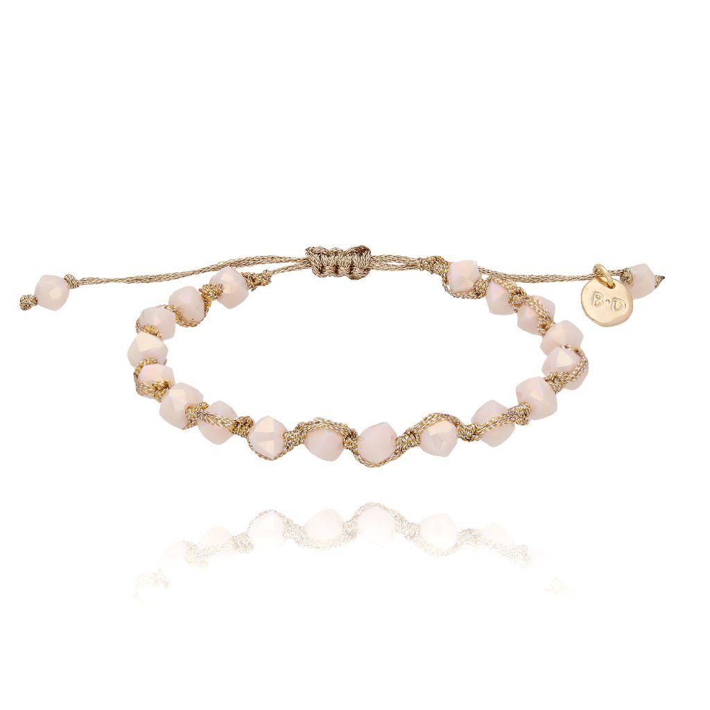 Bransoletka pleciona z beżowymi kryształkami BBL0114