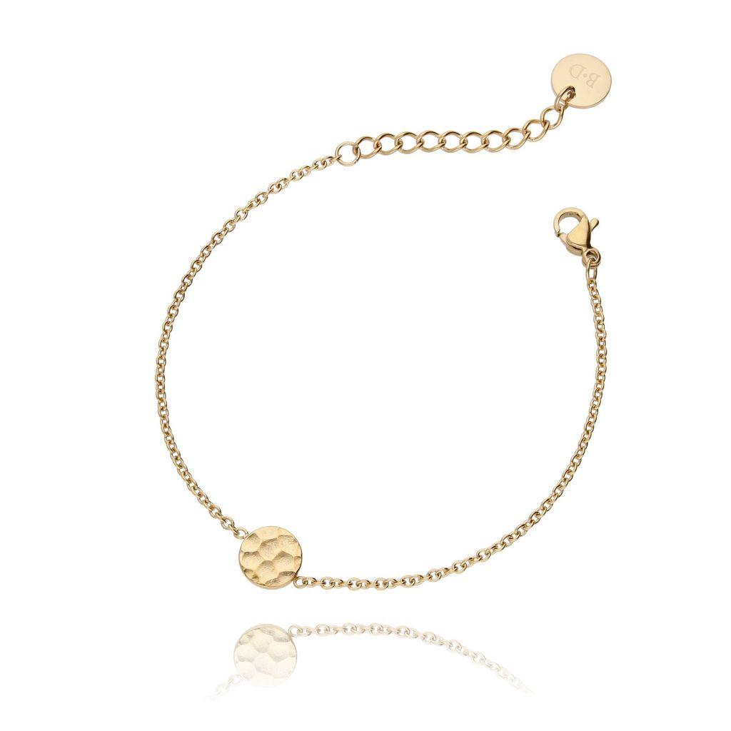 Bransoletka złota ze stali szlachetnej z kółeczkiem młotkowanym BSA0018