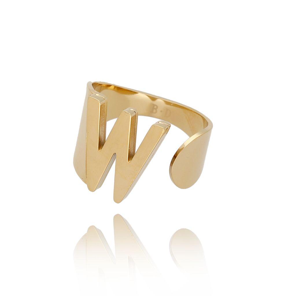 Pierścionek złoty ze stali szlachetnej z literką W PSA0092
