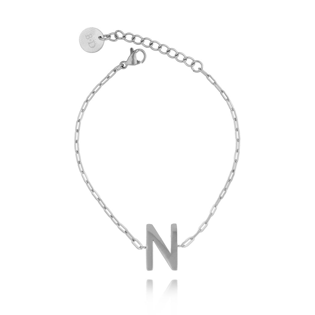 Bransoletka srebrna z literką N BAT0095
