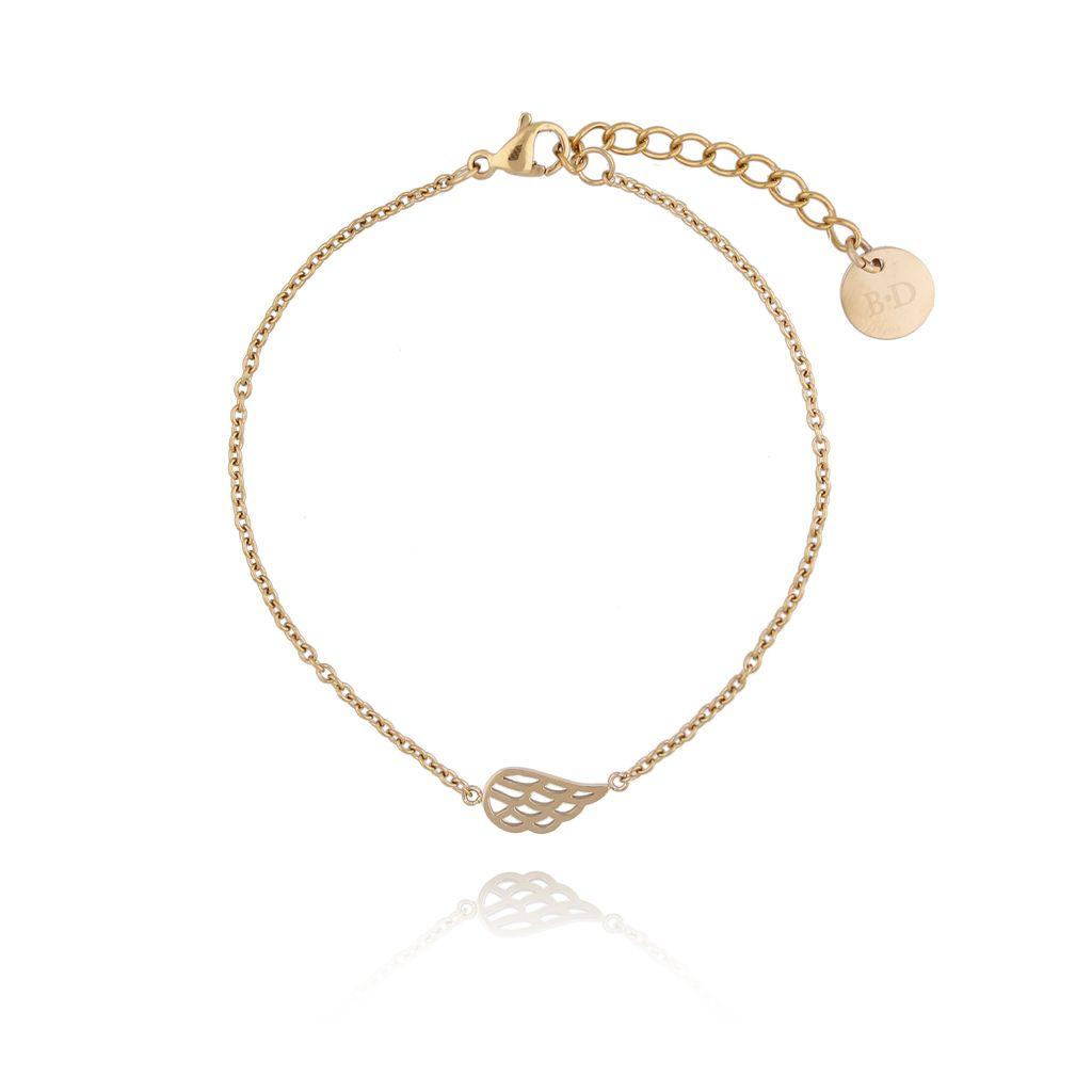 Bransoletka złota ze skrzydełkiem ze stali szlachetnej BSA0086