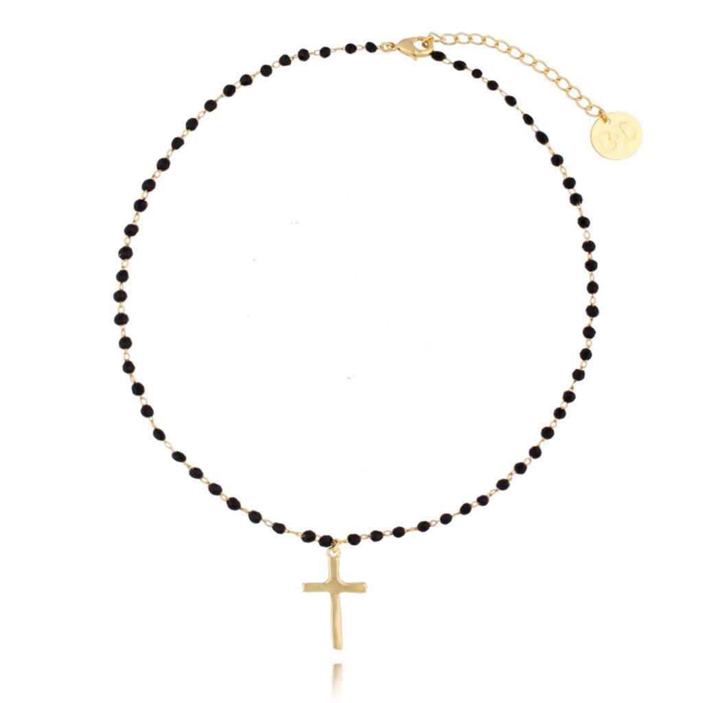 Naszyjnik z łańcuszkiem z czarnymi kryształkami i złotym krzyżem NRG0126