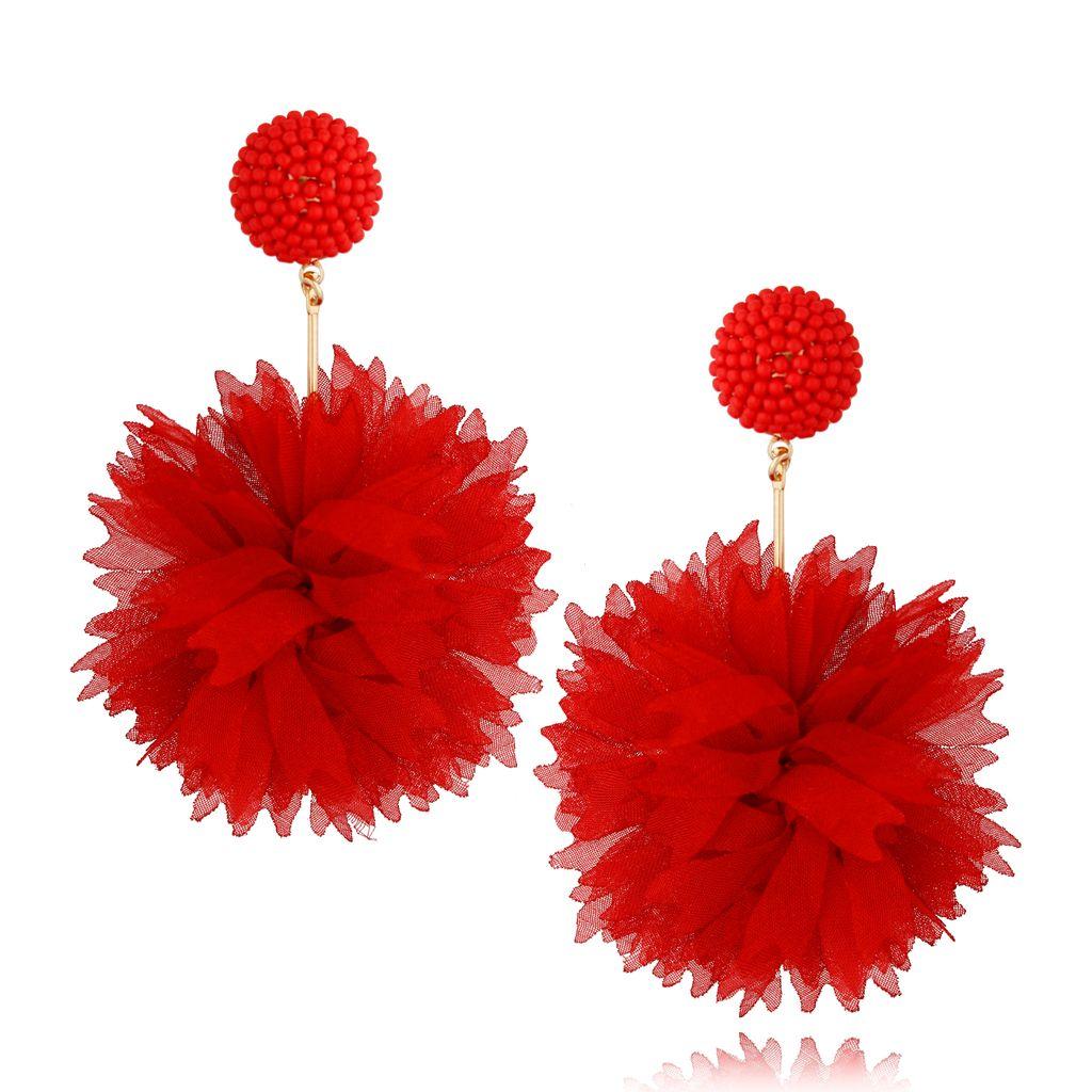 Kolczyki jedwabne kwiaty czerwone KBL0678