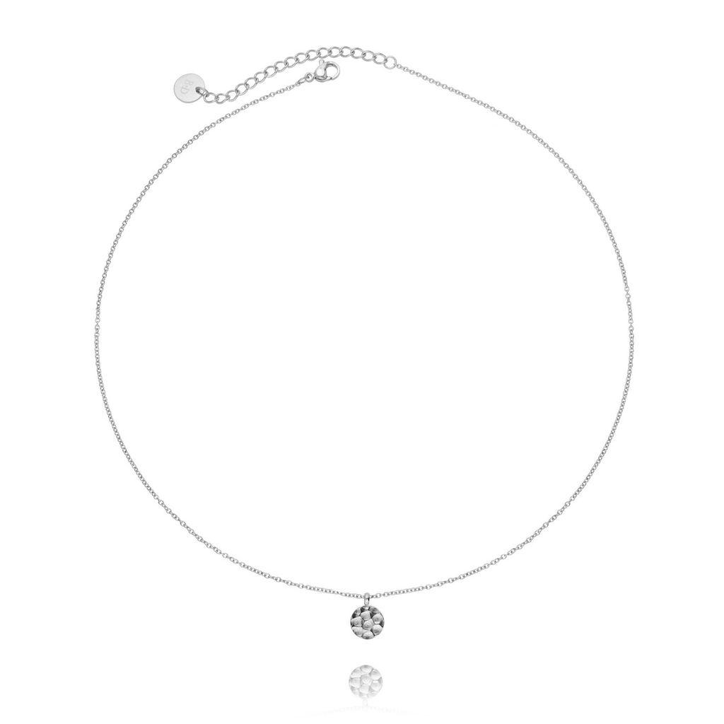 Naszyjnik srebrny ze stali szlachetnej z kółeczkiem młotkowanym NSA0017