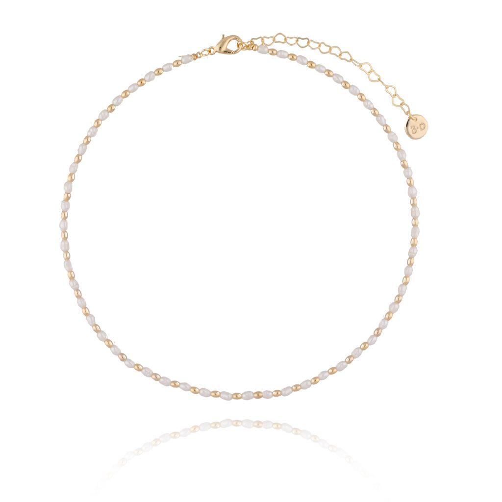 Naszyjnik złoty z perełek NPE0037