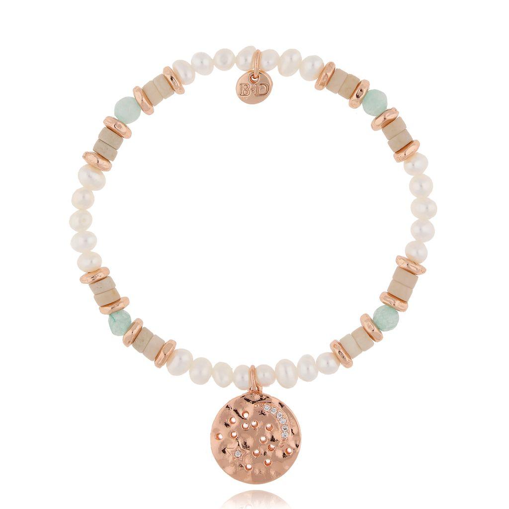 Bransoletka z  perłami miętowo beżowa BSC0891