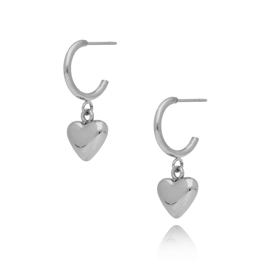 Kolczyki srebrne z sercem ze stali szlachetnej KSA0113