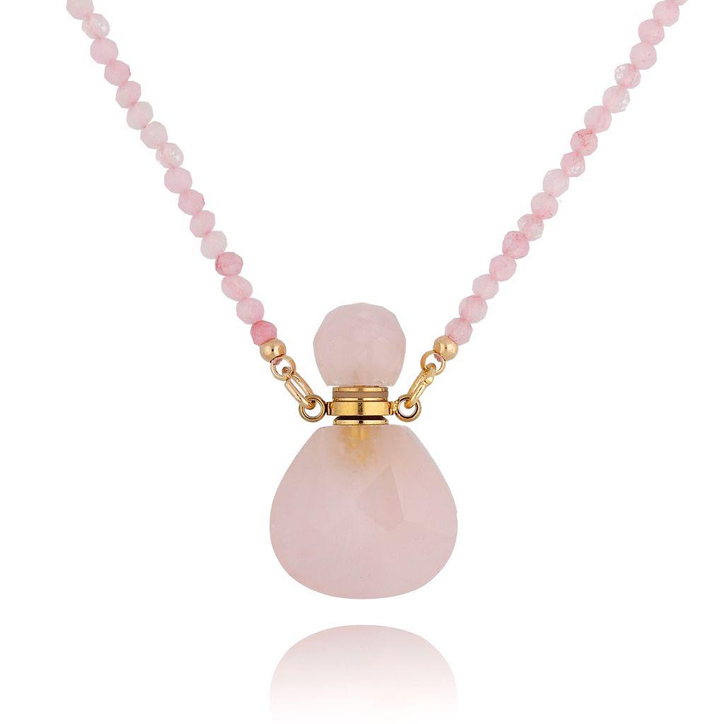 Naszyjnik perfumetka mała różowa z kwarcem NPA0131