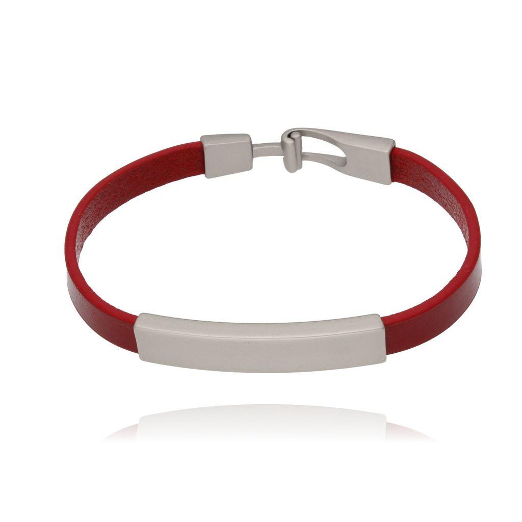 Bransoletka srebrna na czerwonym skórzanym pasku BRG0081