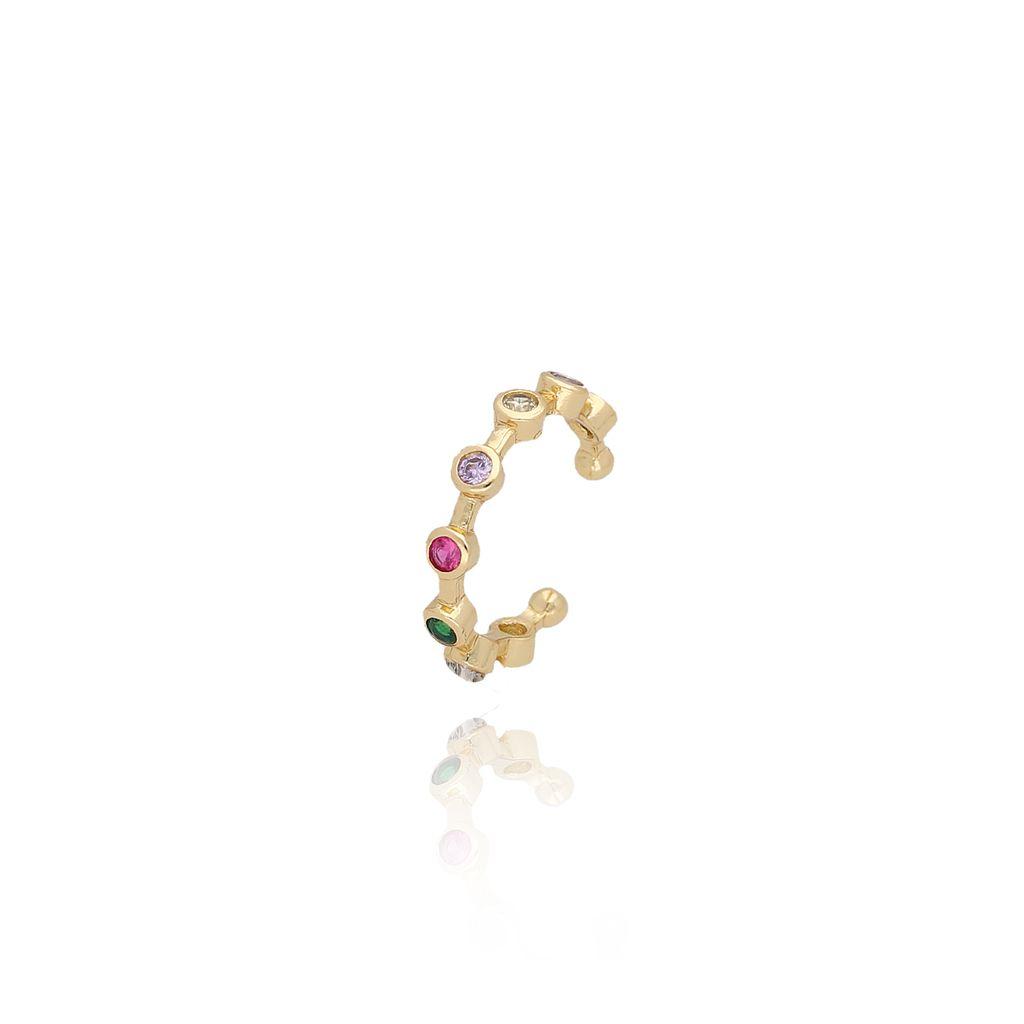 Nausznica złota z kolorowymi cyrkoniami KCO0023